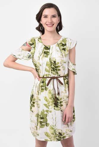 LATIN QUARTERS Women Botanical Print Sheath Dress with Cutouts