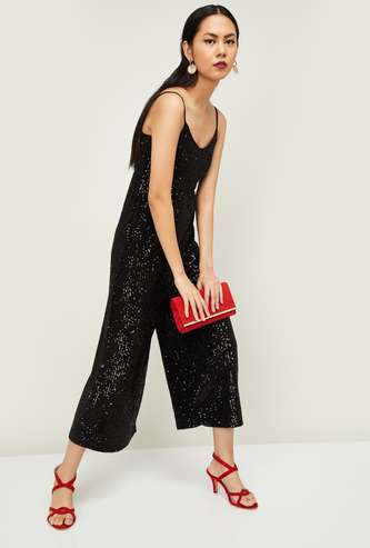 GINGER Women Sequinned Sleeveless Cropped Jumpsuit