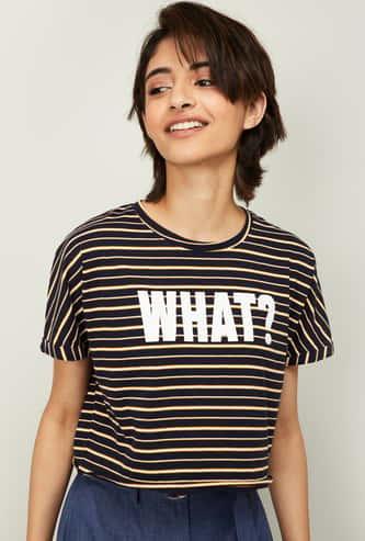 GINGER Women Striped Short Sleeves T-shirt