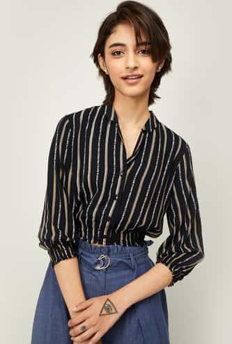 GINGER Women Striped Three-quarter Sleeves Shirt