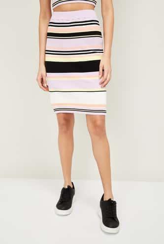 GINGER Women Striped Elasticated Skirt