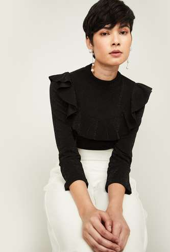 CODE Women Speckled Top with Ruffled Panel