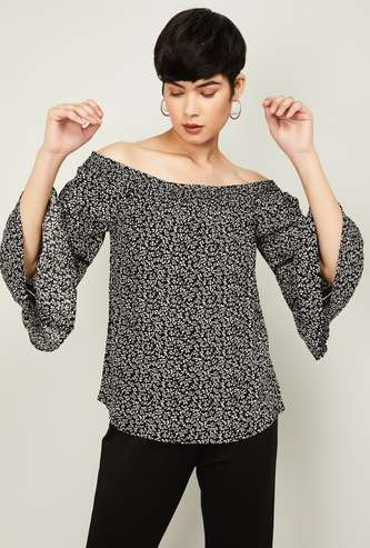 CODE Women Floral Print Square Neck Top with Bell Sleeves