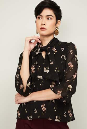 CODE Women Floral Print Three-quarter Sleeves Top