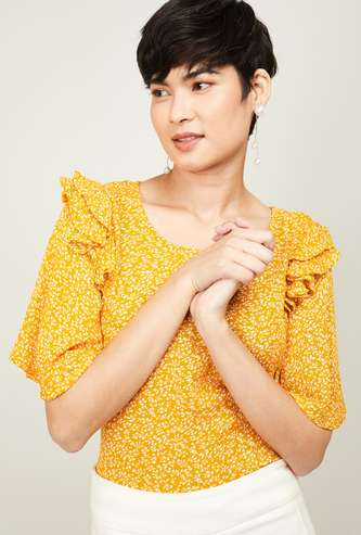 CODE Women Floral Print Topn with Flared Sleeves