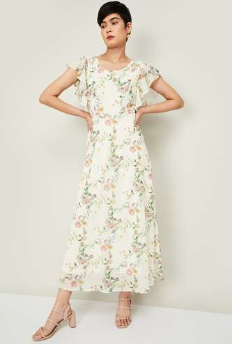 CODE Women Floral Print Midi Dress with Flutter Sleeves