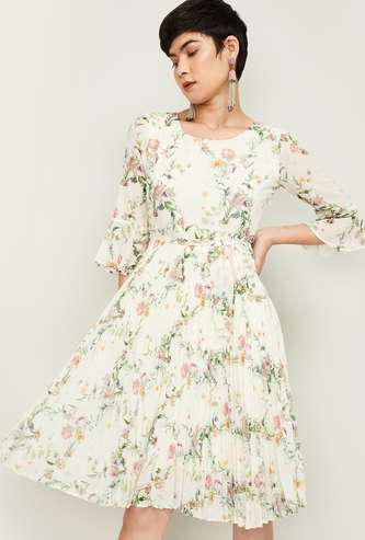 CODE Women Floral Print Fit and Flare Dress with Bell Sleeves