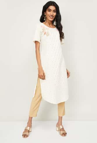 SPAN Women Sequin Embellished Short Sleeves Kurta