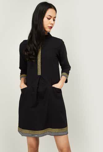 GLOBAL DESI Women Printed Shift Dress with Spread Collar
