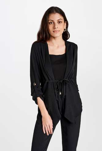AND Women Roll-Up Sleeves Solid Waterfall Shrug