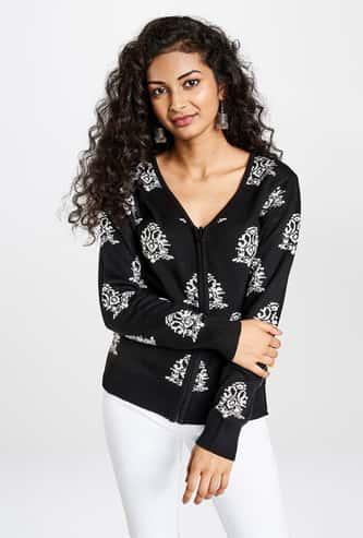 GLOBAL DESI Women Printed Cardigan