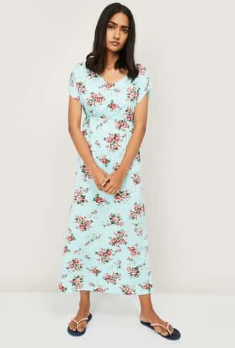 GINGER Women Printed V-neck Maxi Dress