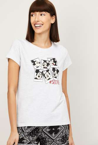 GINGER Women Mickey Mouse Print Lounge T-shirt
