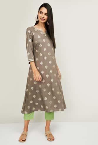 MELANGE Women Printed Kurta with Solid Salwar