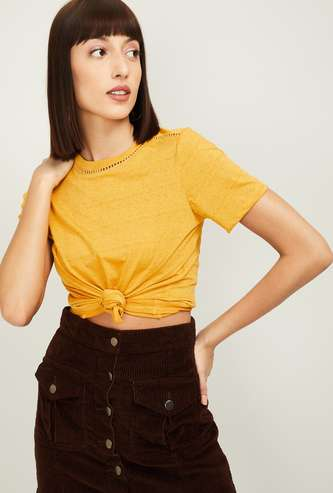 FAME FOREVER Women Solid Round Neck Top