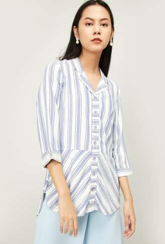 LATIN QUARTERS Women Striped Three-quarter Sleeves Tunic
