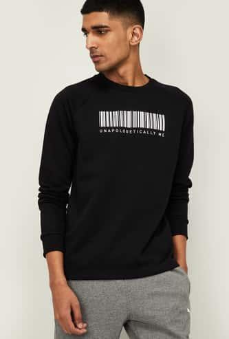 PUMA Men Typographic Print Sweatshirt with Raglan Sleeves