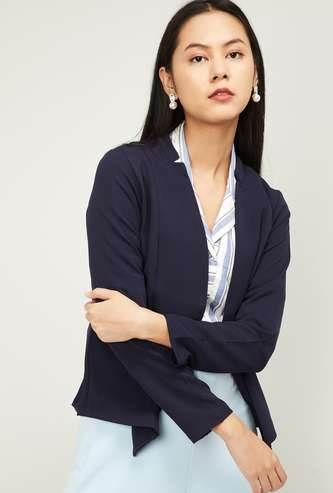AND Women Solid Open-Front Jacket