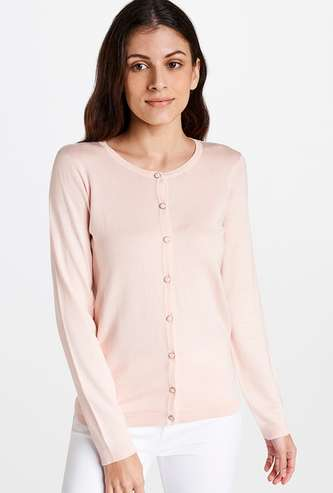 AND Women Textured Full Sleeves Cardigan