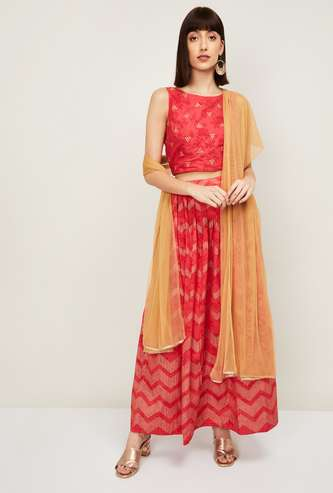 MELANGE Women Embellished Top with Printed Skirt and Dupatta