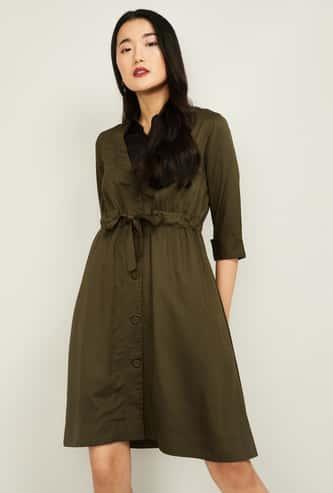 CODE Women Solid Shirt Dress