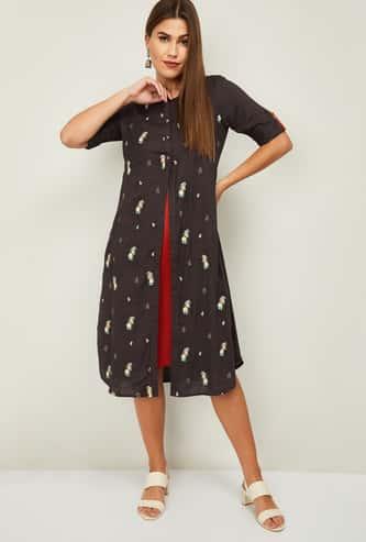 COLOUR ME Rangoli Women A-Line Dress with Printed Shrug