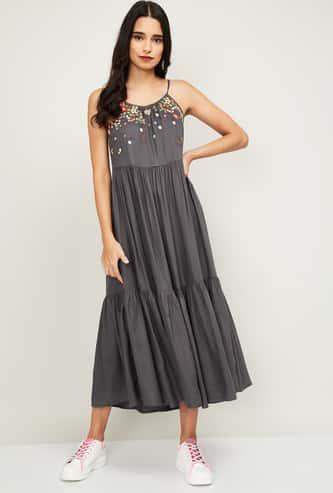 COLOUR ME Kyra Women Embroidered A-Line Dress