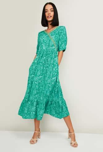 COLOUR ME Raga Women Floral Print A-Line Midi Dress