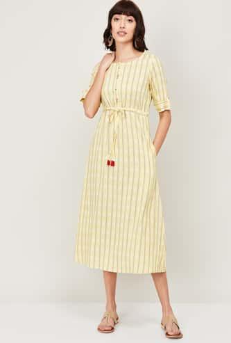 COLOUR ME Women Striped Midi Dress