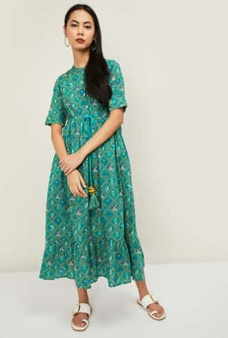 COLOUR ME Raga Women Printed Short Sleeves Midi Dress