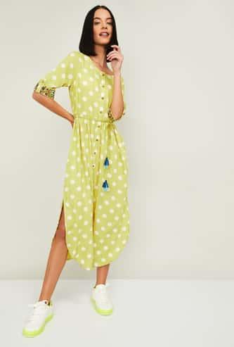 COLOUR ME Rangoli Printed Midi Dress with Side Slits