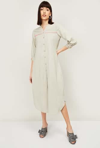 COLOUR ME Women Striped Three-quarter Sleeves Midi Dress
