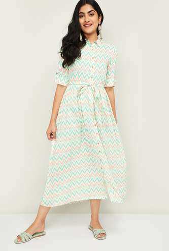 COLOUR ME Women Printed Tie-Up Waist Midi Shirt Dress