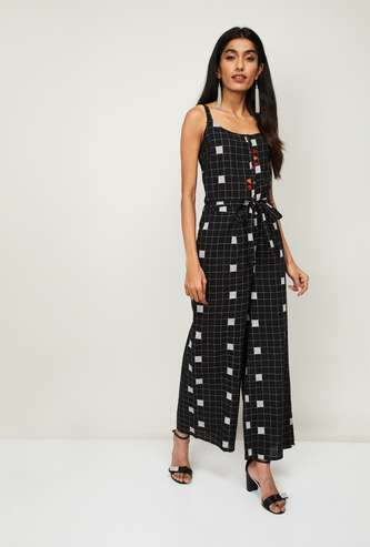 COLOUR ME Women Checked Sleeveless Jumpsuit