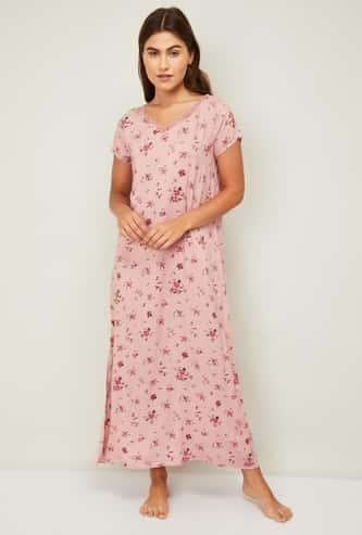 GINGER Women Floral Printed Night Dress