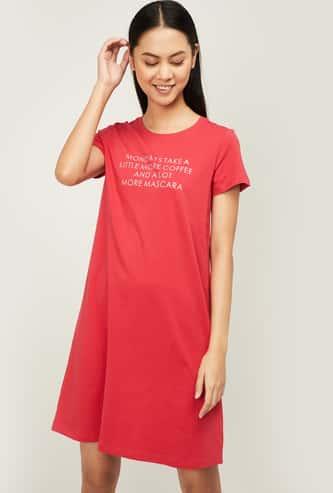 GINGER Printed Short Sleeves Night Dress