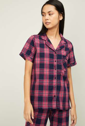 GINGER Women Checked Short Sleeves Nightwear Shirt