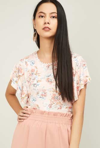 CODE Women Printed Flutter Sleeves Top