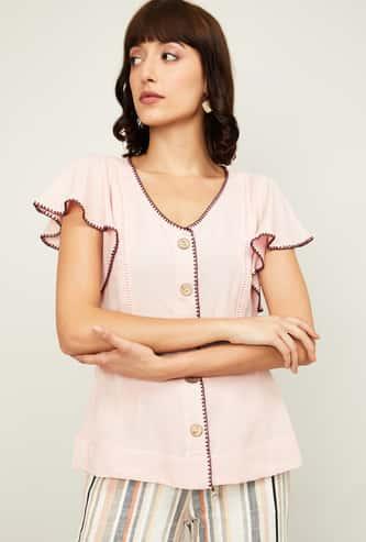 CODE Women Solid Flutter Sleeves Top