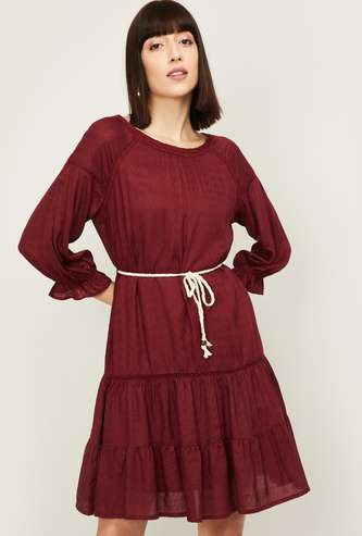FAME FOREVER Women Solid Three-Quarter Sleeves A-line Dress