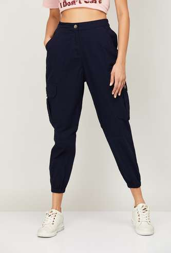 FAME FOREVER Women Solid Cropped Cargo Joggers