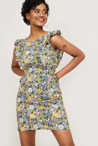 GINGER Women Printed Cap Sleeves Mini Dress