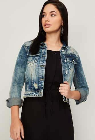 GINGER Women Stonewashed Denim Jacket