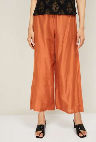 W Women Solid Elasticated Palazzos