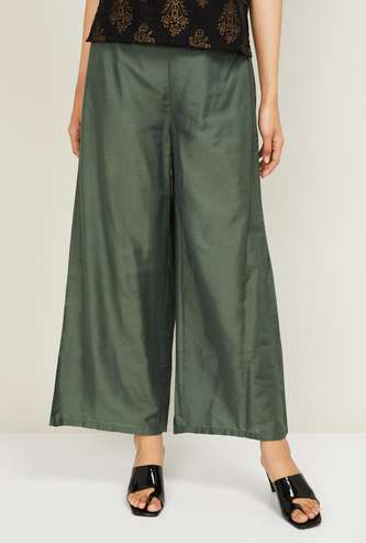 W Women Solid Palazzo Trousers