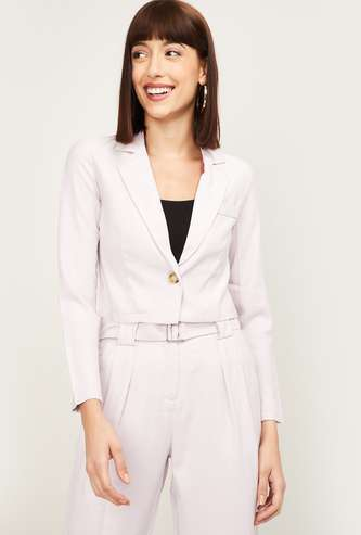 GINGER Women Solid Single-Breasted Cropped Blazer