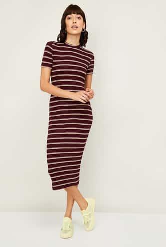 GINGER Women Striped T-shirt Dress