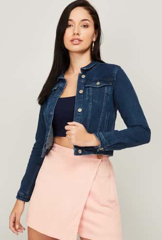 GINGER Women Solid Full Sleeves Denim Jacket