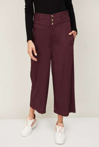 GINGER Women Solid Flared Pants