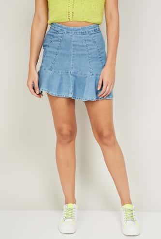 GINGER Women Solid A-line Denim Skirt